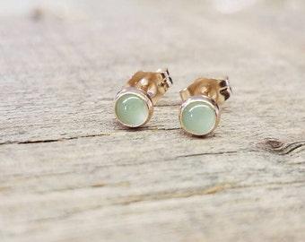 Chrysophrase Stud Earrings 14k Gold