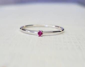 Ruby Ring Sterling Silver Stacking Ring Gemstone Ring