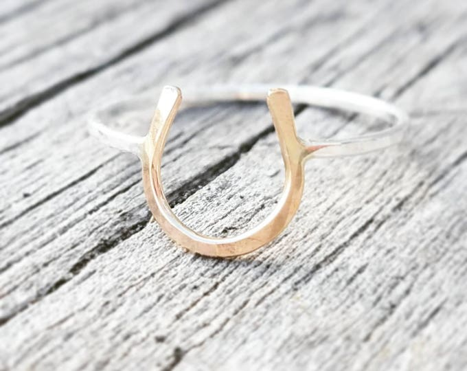 Lucky Horseshoe Ring Gold Sterling Silver