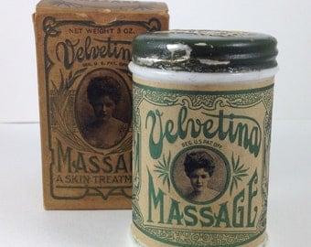 Vintage Ointmena Jar, Velvetina Massage Skin Treatment, Victorian Jar, Original Box with Pamplet