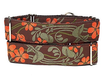 "martingale dog collar 1.5"" wide, BOTANICAL asian floral in orange and green, Safety Collar, Greyhound Collar, Sighthound Collar, Adjustable"