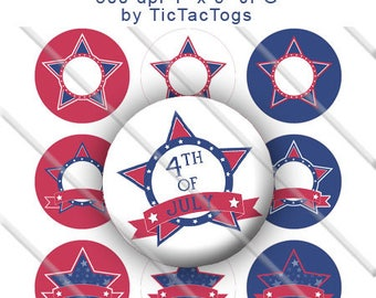 SALE - Editable Star Red White Blue Patriotic Bow Bottle Cap Images Digital 1 Inch Circle Alphabet Alpha A-Z 4X6 - BC591