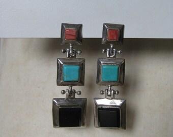 Chunky Turquoise Coral Onyx Dangle Sterling Earrings Pierced Post Silver Vintage 925 Southwest Blue Orange Black