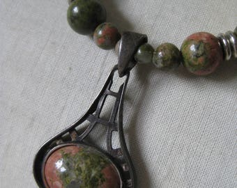 Orange Green Unakite Sterling Necklace Silver Stone Bead Vintage Pendant 925