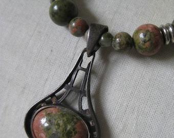 Orange Green Unakite Sterling Necklace Silver Stone Bead Vintage Pendant 925