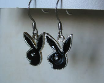 Playboy Bunny Earrings Pierced Wire Enamel Black Silver Rhinestone Clear Dangle Vintage