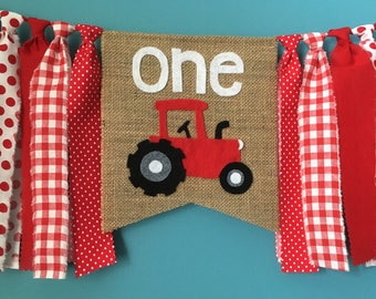 Red Tractor high chair banner party banner Birthday Banner Farm theme Rustic Photo Prop cake smash Barnyard gender neutral Rag Tie Banner