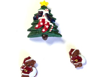3 Christmas Magnets, Chistmas Tree and 2 Santa Bears, Upcycled Magnets, Handmade