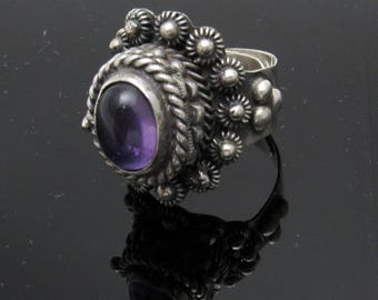 Tall Sterling Cannetille Poison Ring Taxco Amethyst Jewelry R7398