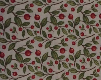 Fall Harvest Greetings 100% cotton fabric by the yard - Cream background with leaf and berries Fall Harvest Thanksgiving Fabric