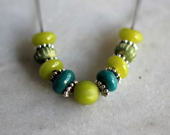 Chartreuse Green Beaded Necklace, Teal Blue, Silver, Gunmetal Silver, Olive Green, Lime Green