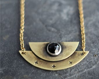 Medieval Black Onyx Pendant in Brass