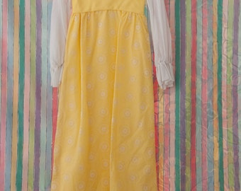 Daisy Yellow Vintage Gown - Bridesmaid Prom 60s Mod Floral Lace Applique Flocked Fabric