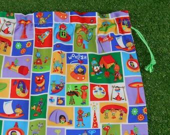 Large drawstring bag for kids, robots camping cotton drawstring storage bag