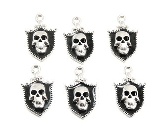 Skull Shield Charms - 6 Pieces - with Black Enamel and Silver Plating - Goth Pirate, Heraldry, Medieval, Macabre, Military