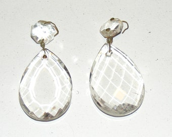 Vintage Chandelier Crystal Glass Faceted Teardrop Lot of 2