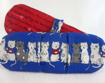 Hot Holders Microwave Oven Finger Mitts - Cats, Blue, Red, Felines, Kitty, Kitties, Magnetic Pot Holders, Microwave Pot Holders, Mini Mitts