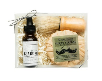 Men's Shave Set with shave brush,  shave soap,  and beard and facial oil.