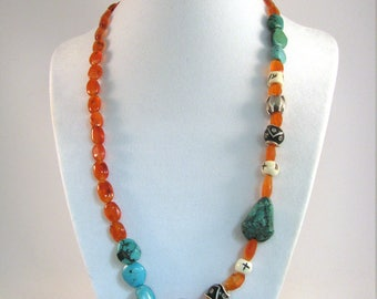Turquoise, Carnelian, Bone and Sterling Silver Necklace with Frog Bead RKS544