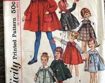 Vintage Simplicity sewing pattern #5045 -Child's size 5 - smock dress with detachable collar
