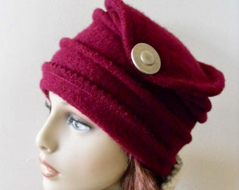 Woman's Wool Felted Hat Stylish Fashion Recycled Wool