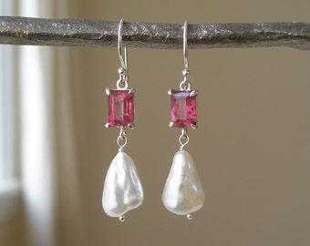 Pink Tourmaline and Keshi Pearl Earrings – Emerald Cut - Pink Gemstone – Prong Set – Organic Shaped Pearl – White Pearl – Sterling Silver