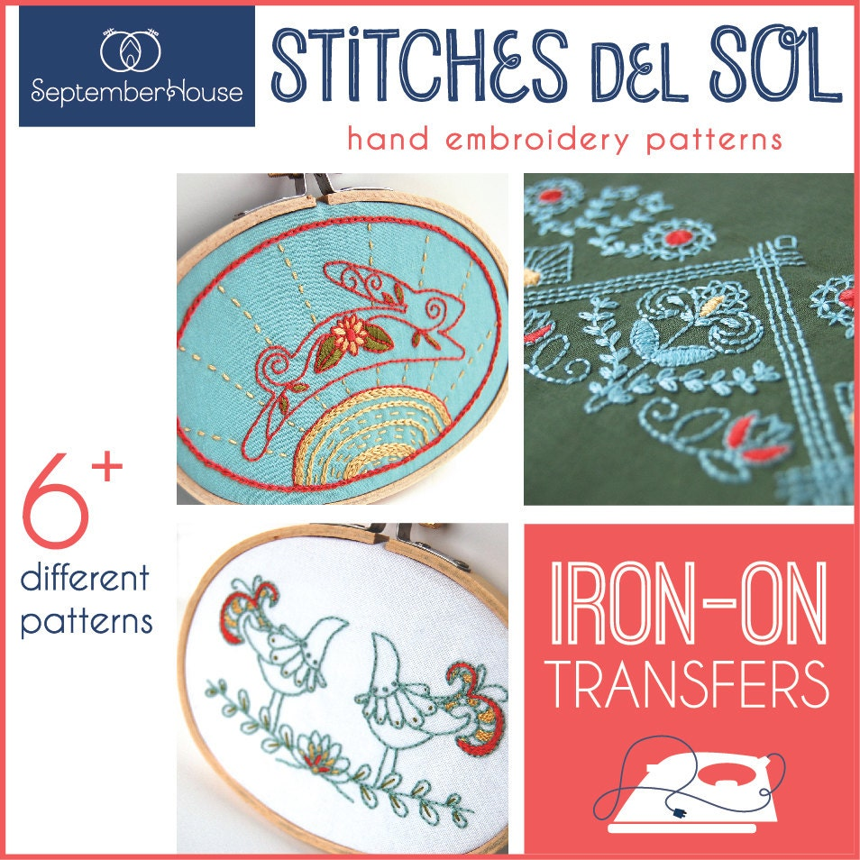 Embroidery patterns stitches del sol iron on transfers for