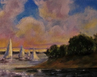 "Original Acrylic Painting Sailboats Ocean Clouds Landscape  5""x 12"""