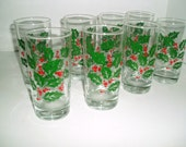Vintage Christmas  Holly and Berries Tumbler Glasses, Bartlett Collins Holiday Glasses Set of 8 High Ball Glasses, Retro Barware, Cocktail