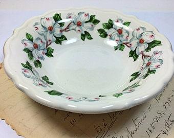 Vintage Ceramic Syracuse China dogwood flower bowl dish white