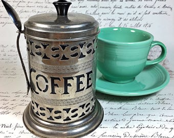 silver retro coffee canister with spoon container black lidded storage kitchen