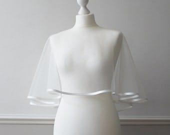 Ivory tulle bridal wedding cape shrug bolero with satin trim CHATHAM