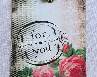 For You Rose Flower Gift or Scrapbook Tags or Magnet #419