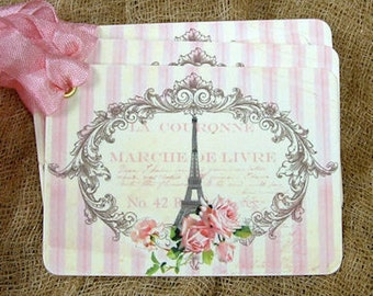 French Paris Eiffel Tower Gift or Scrapbook Tags or Magnet #572