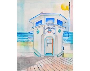 Laguna Beach Watercolor Art Print, Lifeguard Tower Art Print, Beach Wall Art, Lifeguard Tower Giclee, Beach Art,