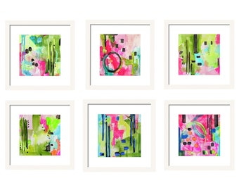 Watercolor Abstract Art Prints Set of 6 Pink, Watercolor Print Set, Pink Gallery Wall, Wall Decor, Office Wall Art, Set of Prints, Giclee