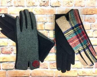 Monogrammed Gloves - Monogram Touch Screen Gloves | Tech Gloves | Driving Gloves | Winter Gloves | Plaid Gloves | Herringbone
