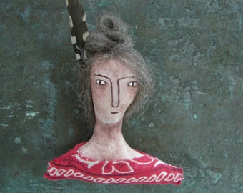 Folk art doll, handpainted face, small doll, wall decor, number one