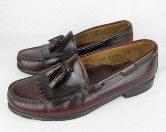 Vintage 80s Bass Womens Shoes, Tasseled Loafers, Sz 7.5 D