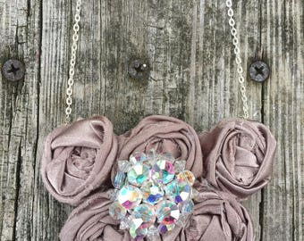 Pretty Taupe Vintage Upcycled Rockin' Roses Necklace