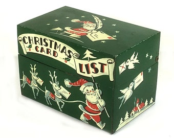Vintage Recipe Box / Christmas Card List, Forest Green with Santa, Reindeer, Charming, Retro Design