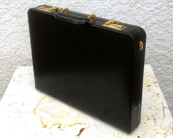 Vintage Slim Profile Black Executive Briefcase with Combination Locks, Gold-Toned Hardware