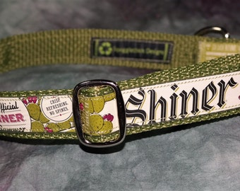 Adjustable Dog Collar from Recycled Shiner Prickly Pear Beer Labels