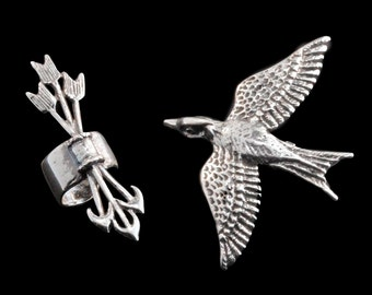 EAR CUFF SPECIAL - Mocking Jay and Quiver and Arrow Combo - Buy 2 Get 1 ear cuff free -Mocking Jay Quiver Arrow Bird Archery Jewelry