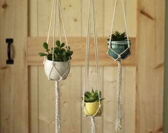 handmade Porcelain container WITH cotton macrame hanger
