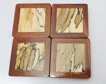 Bar Coaster - Spalted Maple and Mahogany  - OOAK - Man Cave - FREE Shipping