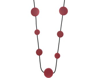 oxblood red necklace, statement  jewelry, sophisticated style
