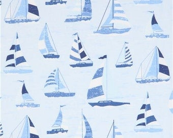 213278 light blue fabric with cute sailboat by Timeless Treasures