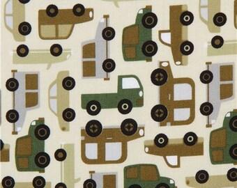 213628 cream Michael Miller fabric green vehicle Tarffic Jam