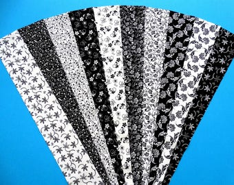 Fabric Black White Mirror Image Cotton Jelly Roll Quilting Strip Pack Material Die Cut 20 Strips (sku JR210-BLWHgd)
